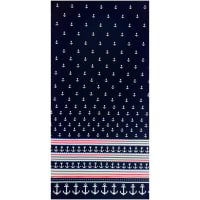 Gertie Stretch Cotton Sateen Anchor Border Navy/Red