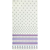 Gertie Stretch Cotton Sateen Anchor Border White/Navy