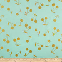 Kokka Simply Gold Big Cherry Tossed Cherries Metallic Canvas Aqua