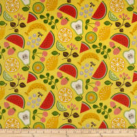 Kokka Fruits Watermelon Tossed Fruits Canvas Yellow