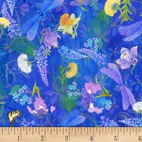 P&B Textiles Nature's Floral & Dragonfly Blue