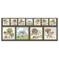"Good Doggie Doggie Blocks 17"" Panel Charcoal"