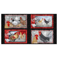 "Chicken Scratch Placemat 24"" Panel Black"