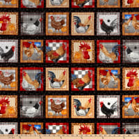 "Chicken Scratch Chickens 24"" Panel Blocks Black"