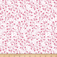 Scarlet Romance, Viney Small Floral, Red On White