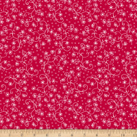 Scarlet Romance, Viney Small Floral, White On Red