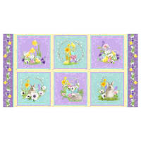 "Hoppy Easter Easter Blocks 24"" Panel Yellow"