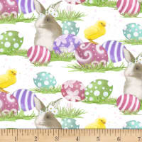Hoppy Easter Bunnies & Chicks White