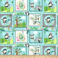 Blank Quilting Panda Park Panda Blocks Light Blue
