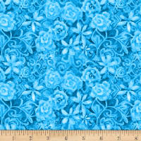 Papillion Parade Tonal Floral Medium Blue