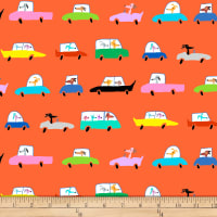 QT Fabrics Amanda Haley Dogtown Dogs In Cars Orange