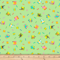 QT Fabrics Amanda Haley Dogtown Dog Heads & Bones Light Green