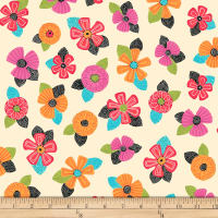QT Fabrics Christine Graf Jamboree Tossed Floral Cream