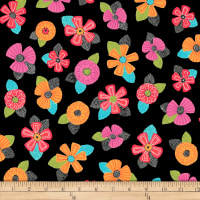 QT Fabrics Christine Graf Jamboree Tossed Floral Black