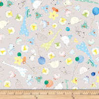 QT Fabrics Lil' Sweeties Baby Animal Toss Gray