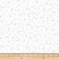 QT Fabrics Lil' Sweeties Animal Linework White