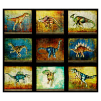 "QT Fabrics Dan Morris Lost World Large Dinosaur 12""x10"" Blocks in a 36"" Panel Black"