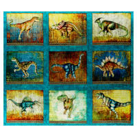 "QT Fabrics Dan Morris Lost World Large Dinosaur 12""x10"" Blocks in a 36"" Panel Turquoise"