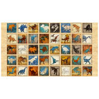 "QT Fabrics Dan Morris Lost World Small Dinosaur 4 1/4"" Blocks in a 24"" Panel Tan"