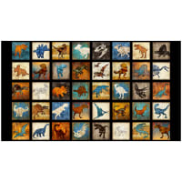 "QT Fabrics Dan Morris Lost World Small Dinosaur 4 1/4"" Blocks in a 24"" Panel Black"