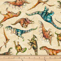 QT Fabrics Dan Morris Lost World Tossed Dinos Light Tan