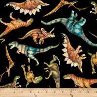 QT Fabrics Dan Morris Lost World Tossed Dinos Black