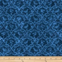 QT Fabrics Dan Morris Lost World Dinos Damask Dark Blue