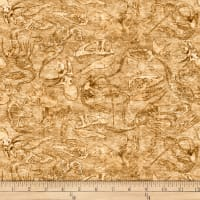 QT Fabrics Dan Morris Lost World Fossils Dark Tan
