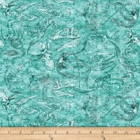 QT Fabrics Dan Morris Lost World Fossils Light Turquoise