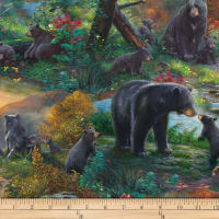 QT Fabrics Mark Keathley Nature's Bears Black Bear Scenic Multi