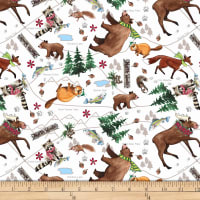 QT Fabrics Desiree North Woods Neighbor Animal Toss White