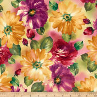 QT Fabrics  Danielle Watercolor Floral Multi