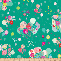 QT Fabrics Let's Celebrate Bunch Of Balloons Green