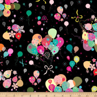 QT Fabrics Let's Celebrate Bunch Of Balloons Black