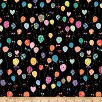 QT Fabrics Let's Celebrate Balloons Black
