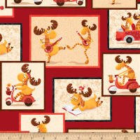 QT Fabrics Moose On The Loose Moose Overlapping Patches Wine