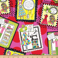QT Fabrics Sew Sassy Sewing Patches Tossed Pink