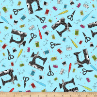 QT Fabrics Sew Sassy Sewing Toss Light Blue