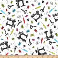 QT Fabrics Sew Sassy Sewing Toss White