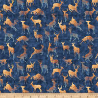 QT Fabrics Timberland Trail Animal Silhouettes Navy