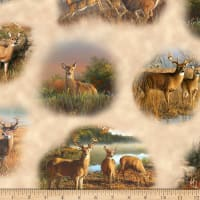 QT Fabrics Deer Valley Deer Vignettes Cream