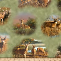 QT Fabrics Deer Valley Deer Vignettes Green