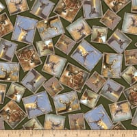 QT Fabrics Deer Valley Framed Deer Evergreen
