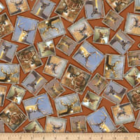 QT Fabrics Deer Valley Framed Deer Terracotta