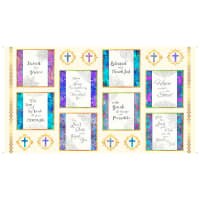 "QT Fabrics Faith Religious Picture Patches Square 24"" Panel Light Cream"