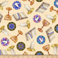 QT Fabrics Faith Religious Toss Cream
