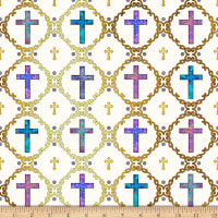 QT Fabrics Faith Crosses Light Cream