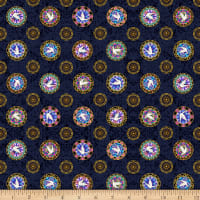 QT Fabrics Faith Medallion Toss Navy