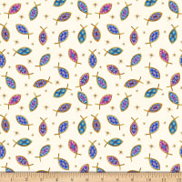 QT Fabrics Faith Fish Light Cream