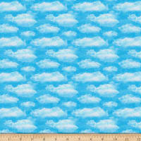 QT Fabrics Faith Clouds Aqua